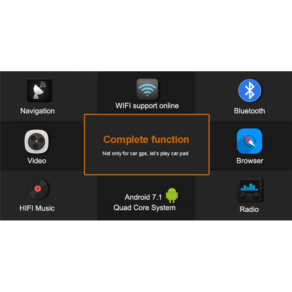 Car Audio Media player Android 7 1 2 OS with GPS navi